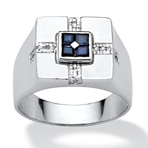 Men's 5/8 TCW Square Midnight Blue Genuine Sapphire Diamond Accent Sterling Silver Classic Ring