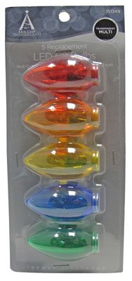 Noma/Inliten-Import 11230-88 Christmas Lights Led Replacement Bulb, C9, Multi-Color Transparent, 5-Pk. - Quantity 50
