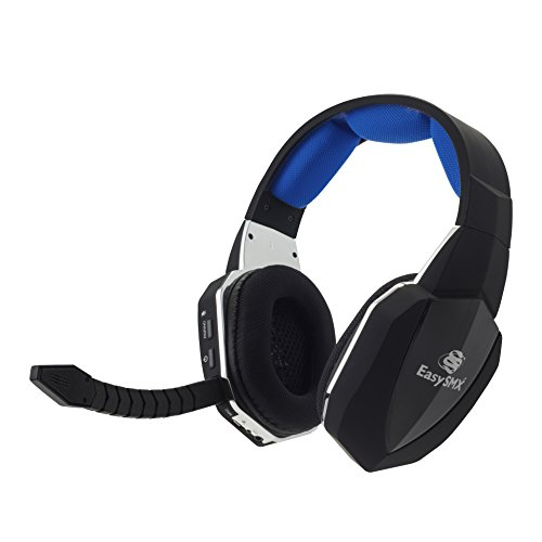 EasySMX 2.4G Optical Wireless XBOX ONE PS4 PS3 XBOX 360 PC Laptop Tablets Chat Skype MAC Gaming Headset 2 Detachable Mic (A Microsoft Adapter is Needed When Used to XBOX) Black and Blue (Turtle Beach Headphone Cord compare prices)