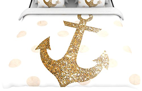 "Kess Inhouse 68 By 88-Inch Nika Martinez ""Glitter Anchor"" Woven Duvet Cover, Twin, Gold Sparkles front-983126"