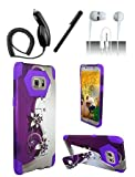4 Items Combo For Samsung Galaxy S7 Edge G935 Purple Silver Vines Design Hybrid Dual Layer Case w/ Built in Kickstand + Car Charger + Free Stylus Pen + Free 3.5mm Earphone (For S7 Edge Only)