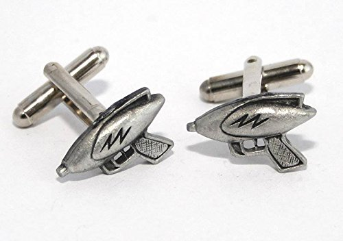 Solid Pewter Classic Sci-Fi Ray Gun Cufflinks With Gift Box