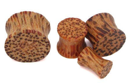 Tiki Plugs - Coconut Wood Plug - Sold as a Pair - 41mm