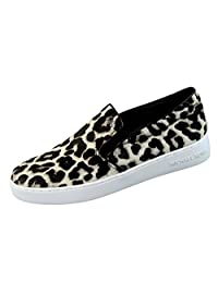 Michael Kors Keaton Slip On Sneaker Loafer Black/White Cheetah Haircalf Shoe