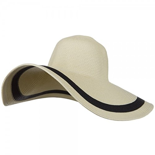 MG Solid Peak Ladies Wide Brim Toyo Sun Hat (Nautral-Black)