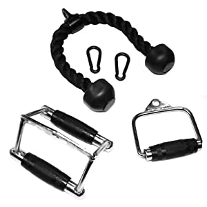 Cable Handle, Chinning Triangle, Tricep Rope w/ 2 Black Heavy Duty Snap Links from Ader Sporting Goods