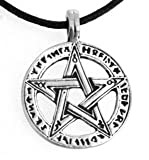 Pewter Pentagram with Runes Pagan Wiccan Pentacle Pendant, Leather Necklace
