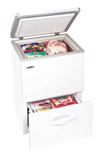 Chest freezer with bottom drawer