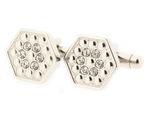 Edforce Stainless Steel Hexagon-Shaped Cuff Links with Crystals