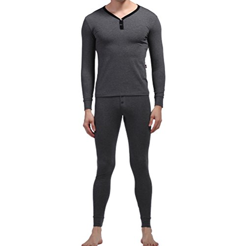 Zihan Men'S Cotton Skinny Button Thermal Underwear Set Suit Extra Small Grey