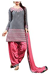 Angel Fashion Studio Women's Cotton Dress Material (Grey)