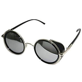 Vintage 50s Steampunk Round Mirror Lens Glasses Sun Glasses Men Women Unisex Retro Style Glasses Circle Frame Blinder Sunglasses Cyber Goggels Eyeglasses Eyewear Grey