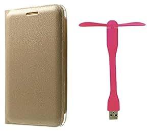 Novo Style Oppo F1 Premium PU Leather Quality Golden Flip Cover+ Mini USB Fan Adjust Angle / bendable Portable Flexible USB Fan