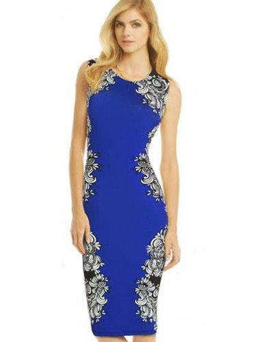 Pakula New Fashion 2014 Noble Seleb O Neck Sleeveless Knee-Length Stretch Slim Bodycon Pencil Party Maxi Print Dresses,Large