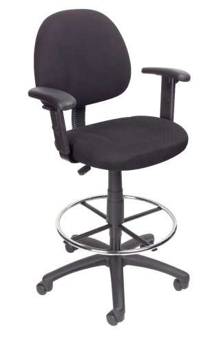 Boss Drafting Stool with Adjustable Arms  and Footring, Black