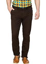 Zovi Cotton Slim Fit Brown Mach-Chinos(12065900901_Medium)