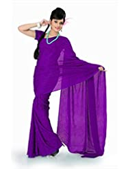 Designersareez Women Crepe Jacquard Printed Purple Saree With Unstitched Blouse(782)