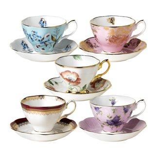 Royal Albert 101 Years Fine Bone China 1950-1990 - 10-Piece Teacup & Saucer Set