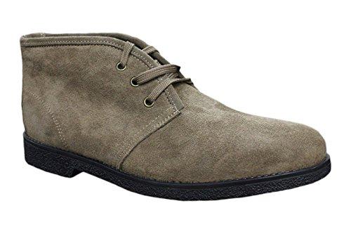 Stivaletti Polacchine uomo scarpe beige pelle scamosciata casual made in Italy (42)