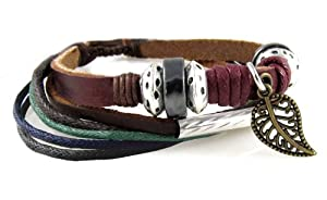 Leaf Design Leather Zen Bracelet - Adjustable, Fits 5.5 to 9 Inches, for Men, Women, Teens, Boys and Girls (Foil Gift Box)