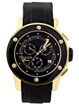 MULCO Chronograph black and gold bezel black dial watch MW4-9063-022