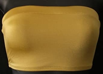 Metallic Nylon/Spandex Strapless Bandeau Tube Top Copper XL