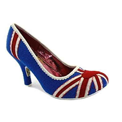 Irregular Choice Women's Patty Floral Union Jack Shoes- Navy/Red - 3
