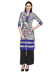 Fashion205 Grey And Blue Printed European Crepe Long Kurti