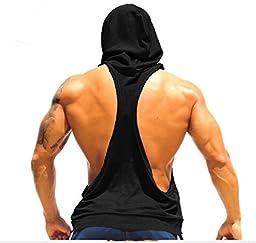 Q&Y Men\'s Muscle Cut Bodybuilding Stringer Hoodie Gym Tank Top Racerback Hoodie Tee Black XXL