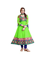 Shreevas Green Faux Georgett Anarkali Suit Material With Embroidery Work | STL106