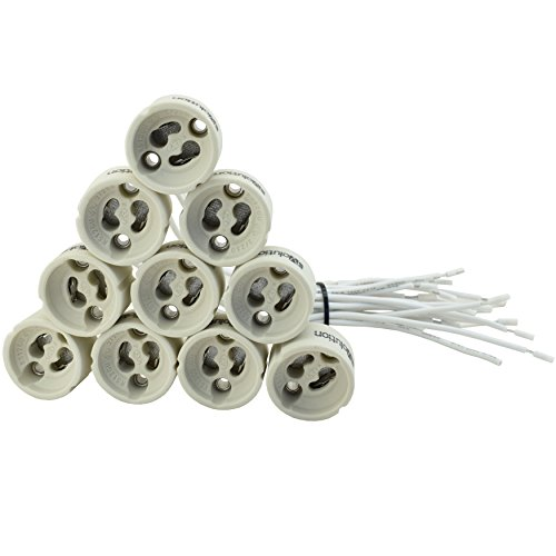 N.20 porta lampada in ceramica EVolution GU10 | Pacchetto Offerta! | 0,75mm² cavo in silicone | per lampade a LED ed alogene