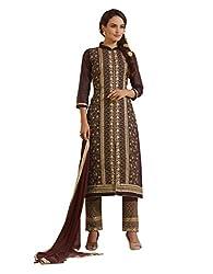 fabgruh Brown colour dress material