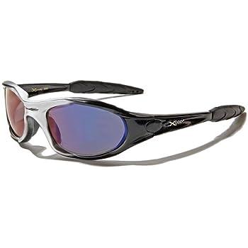 X-Loop Lunettes de Soleil - Sport - Cyclisme - Ski - Conduite - Moto - Plage / Mod. 2044 Gris Noir Spectrum Bleu / Taille Unique Adulte / Protection 100% UV400