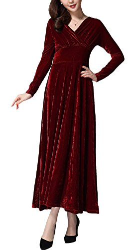 Urban CoCo Women long sleeve V-neck Velvet Stretchy Long Dress (Medium, Wine Red)