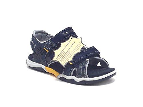 Timberland scarpe ragazzo, sandalo in pelle e tessuto camufflage, colore blu e grigio