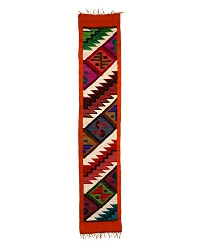 Uptown Down Found Loomed Peruvian Wool Accent Rug, Red/Multi, 4′ 10.25″ x 11.75″ Runner As You See