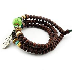 November's Chopin Fashion Handmade Metal Leaf Pendant Wood Prayer Bracelet Link Wrist Necklace