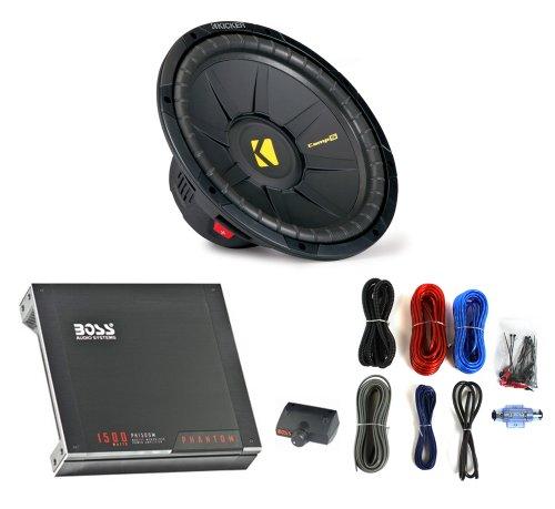 "Kicker 40Cws124 12"" 600W Car Subwoofer Sub + Boss 1500W Mono Amplifier + Amp Kit"