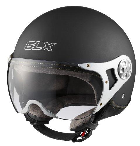 GLX Helmets GLX Copter Style Open Face Motorcycle Helmet (Matte Black, Medium)