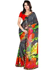 Exotic India Black Sari With Floral Print And Patch-work On Border - Black