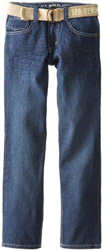 U.S. Polo Assn. Big Boys' Slim Straight Belted Denim Jeans, Washed Crink, 14