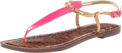 Sam Edelman Gigi Ankle Womens Pink Pink (SHOCKING PINK NEON PATENT LTH/NATURAL) Size: 7 (41 EU)