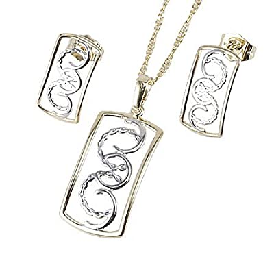 Crystal Jewelry 14k gold plated african jewelry sets pendant Necklace stud earrings S14K- 18k charm necklace for women