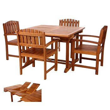 5pc Java Teak Hardwood Outdoor Patio Dining Table Chairs Set