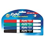 EXPO 86674K  Low-Odor Dry Erase Markers, Fine Point, Assorted Colors, 4-Count (Color: Assorted, Tamaño: 4-Count)