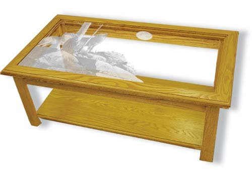 Glass Coffee Table Oak Glass Top Coffee Table With Howling Wolf