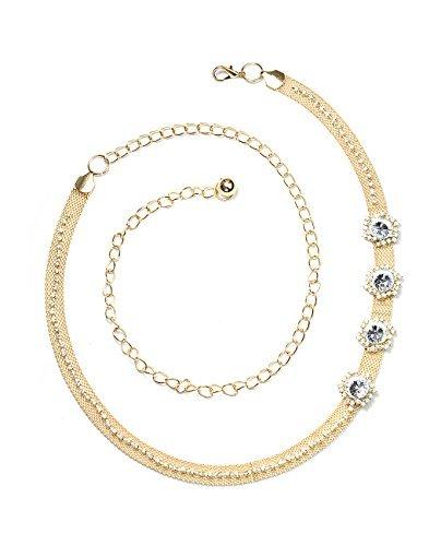 NYfashion101 Gleaming Stud Floral Design Single Link Belly Chain Belt NBTL3197Y