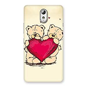 Cute Heart Twin Teddy Back Case Cover for Lenovo Vibe P1M