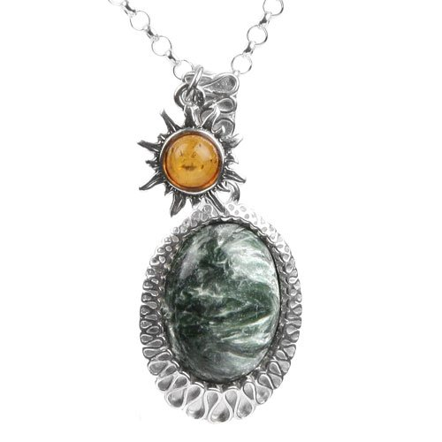 Baltic Honey Amber and Seraphinite and Sterling Silver
