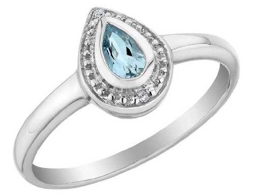 Aquamarine Ring with Diamonds 1/4 Carat (ctw) in Sterling Sillver, Size 9.5